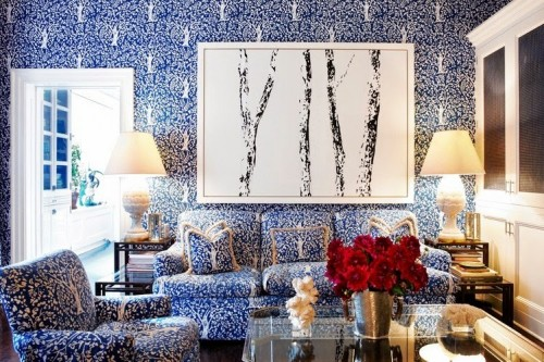 tory burch family room azure blue foliage tree wallpaper upholstery cococozy wall street journal