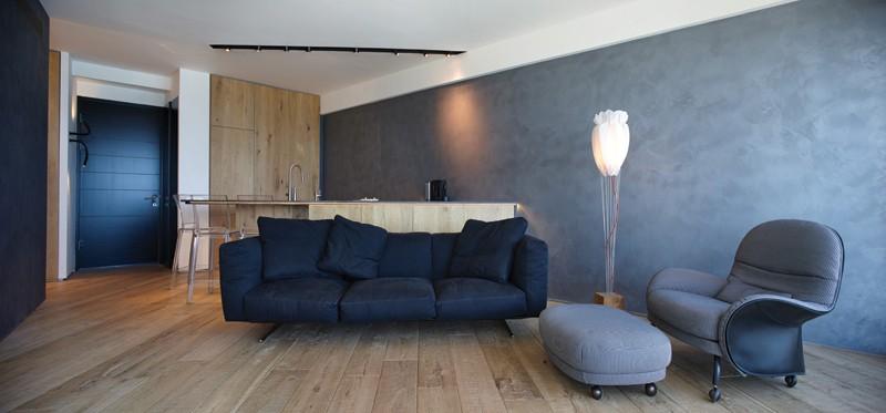 """A nappali tér konyhával - a diagonális vonal """"ésszerűtlen"""" funkcionálisan - látszólag..."""